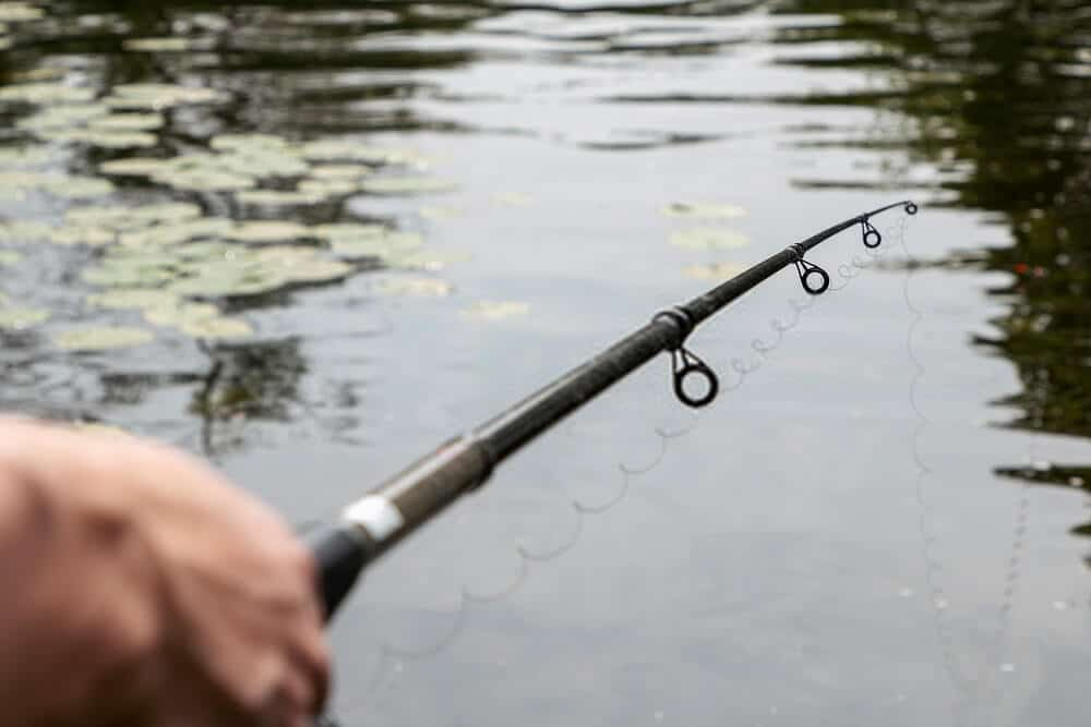 fisherman using the best telescoping fishing rod