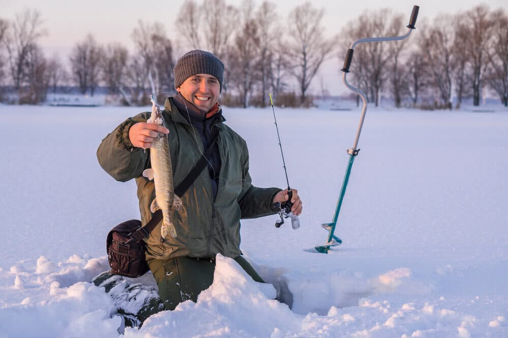 Ice fishing with rod