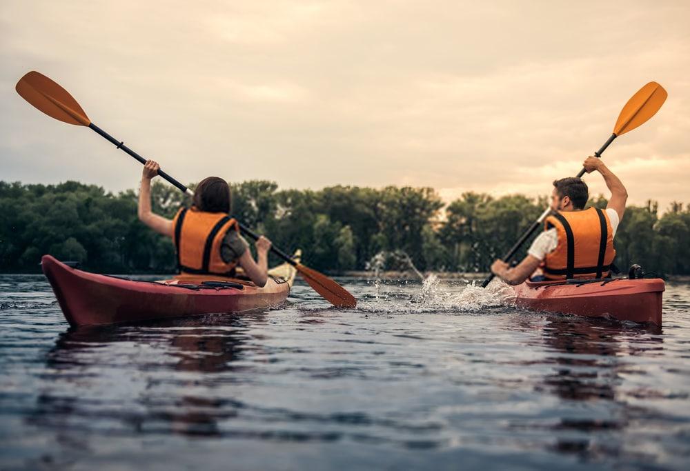 couple enjoying kayaking